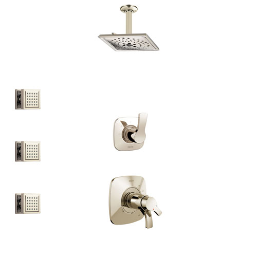 Delta Tesla Polished Nickel Shower System with Dual Thermostatic Control Handle, Diverter, Ceiling Mount Showerhead, and 3 Body Sprays SS17T522PN5