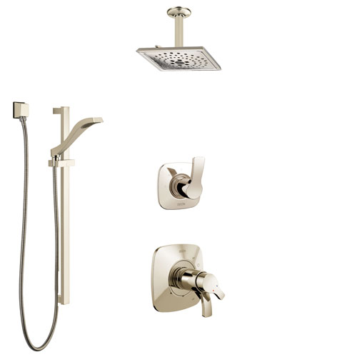 Delta Tesla Polished Nickel Shower System with Dual Thermostatic Control Handle, Diverter, Ceiling Mount Showerhead, and Hand Shower SS17T522PN6