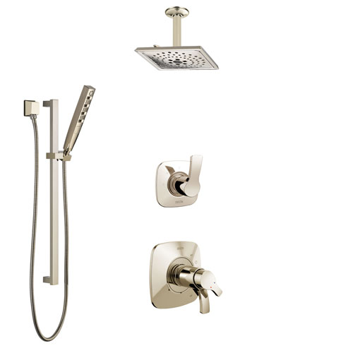 Delta Tesla Polished Nickel Shower System with Dual Thermostatic Control Handle, Diverter, Ceiling Mount Showerhead, and Hand Shower SS17T522PN7