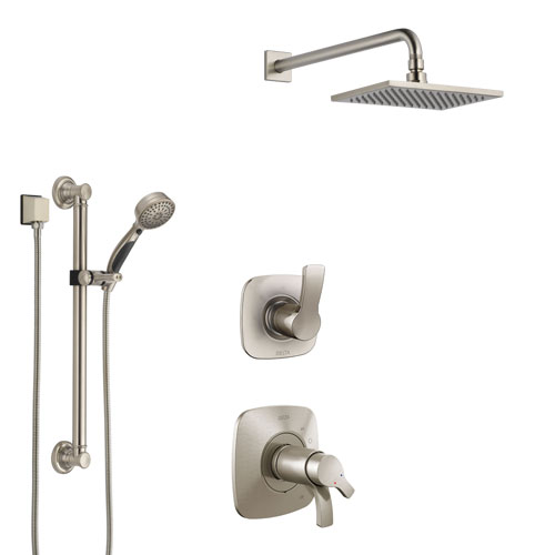 Delta Tesla Dual Thermostatic Control Handle Stainless Steel Finish Shower System, Diverter, Showerhead, and Hand Shower with Grab Bar SS17T522SS2