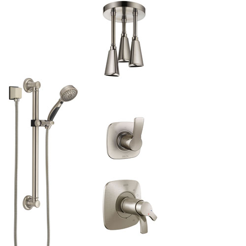 Delta Tesla Dual Thermostatic Control Stainless Steel Finish Shower System, Diverter, Ceiling Mount Showerhead, and Grab Bar Hand Shower SS17T522SS3