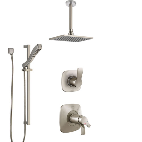 Delta Tesla Dual Thermostatic Control Handle Stainless Steel Finish Shower System, Diverter, Ceiling Mount Showerhead, and Hand Shower SS17T522SS5