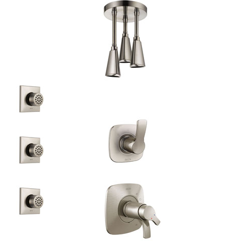 Delta Tesla Dual Thermostatic Control Handle Stainless Steel Finish Shower System, Diverter, Ceiling Mount Showerhead, and 3 Body Sprays SS17T522SS8