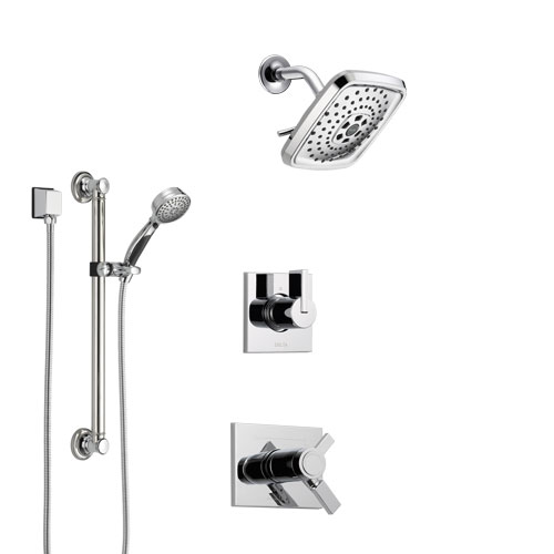Delta Vero Chrome Finish Shower System with Dual Thermostatic Control Handle, 3-Setting Diverter, Showerhead, and Hand Shower with Grab Bar SS17T5315