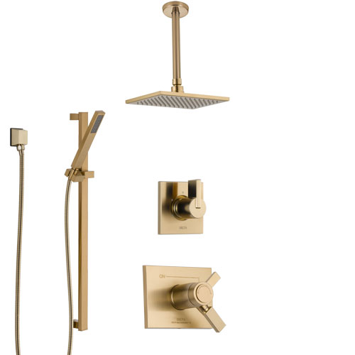 Delta Vero Champagne Bronze Shower System with Dual Thermostatic Control Handle, Diverter, Ceiling Mount Showerhead, and Hand Shower SS17T531CZ1