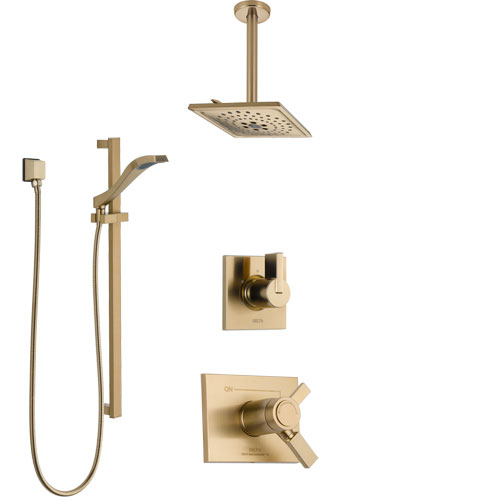 Delta Vero Champagne Bronze Shower System with Dual Thermostatic Control Handle, Diverter, Ceiling Mount Showerhead, and Hand Shower SS17T531CZ2