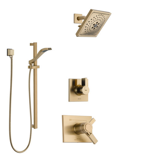 Delta Vero Champagne Bronze Shower System with Dual Thermostatic Control Handle, Diverter, Showerhead, and Hand Shower with Slidebar SS17T531CZ3