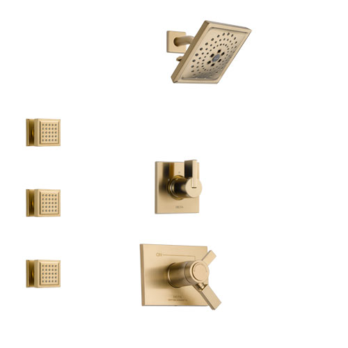 Delta Vero Champagne Bronze Finish Shower System with Dual Thermostatic Control Handle, 3-Setting Diverter, Showerhead, and 3 Body Sprays SS17T531CZ4