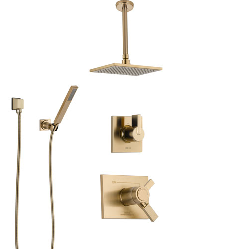 Delta Vero Champagne Bronze Shower System with Dual Thermostatic Control Handle, Diverter, Ceiling Mount Showerhead, and Hand Shower SS17T531CZ6
