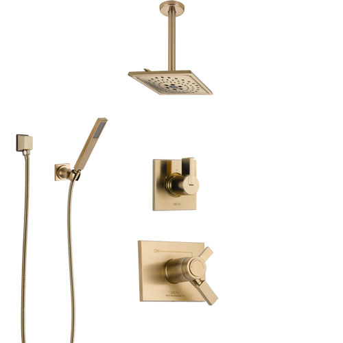 Delta Vero Champagne Bronze Shower System with Dual Thermostatic Control Handle, Diverter, Ceiling Mount Showerhead, and Hand Shower SS17T531CZ7