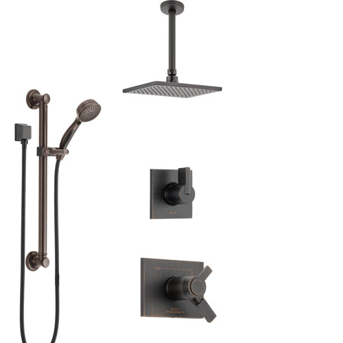Delta Vero Venetian Bronze Shower System with Dual Thermostatic Control, Diverter, Ceiling Mount Showerhead, and Hand Shower with Grab Bar SS17T531RB1