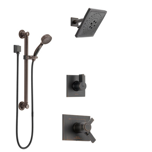 Delta Vero Venetian Bronze Shower System with Dual Thermostatic Control Handle, Diverter, Showerhead, and Hand Shower with Grab Bar SS17T531RB3