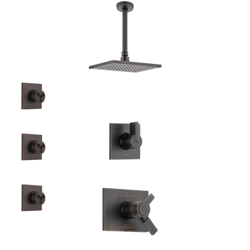 Delta Vero Venetian Bronze Shower System with Dual Thermostatic Control Handle, Diverter, Ceiling Mount Showerhead, and 3 Body Sprays SS17T531RB5