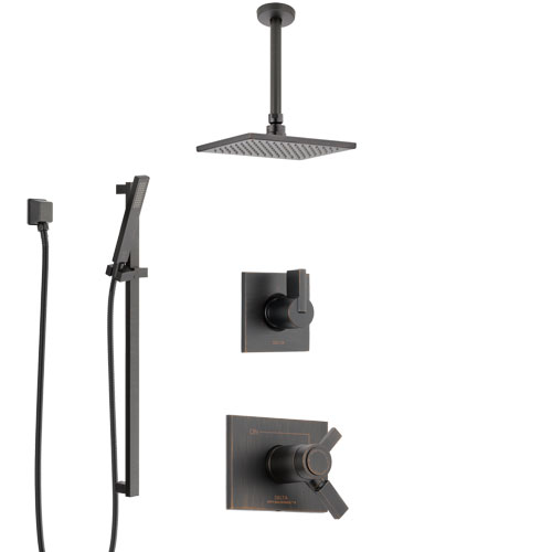Delta Vero Venetian Bronze Shower System with Dual Thermostatic Control Handle, Diverter, Ceiling Mount Showerhead, and Hand Shower SS17T531RB7