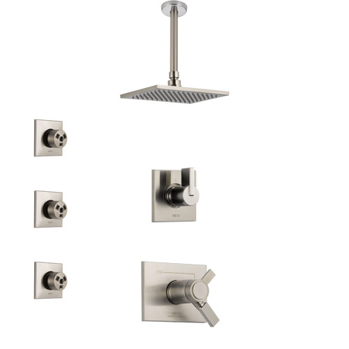 Delta Vero Dual Thermostatic Control Handle Stainless Steel Finish Shower System, Diverter, Ceiling Mount Showerhead, and 3 Body Sprays SS17T531SS4