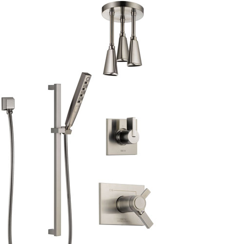 Delta Vero Dual Thermostatic Control Handle Stainless Steel Finish Shower System, Diverter, Ceiling Mount Showerhead, and Hand Shower SS17T531SS7