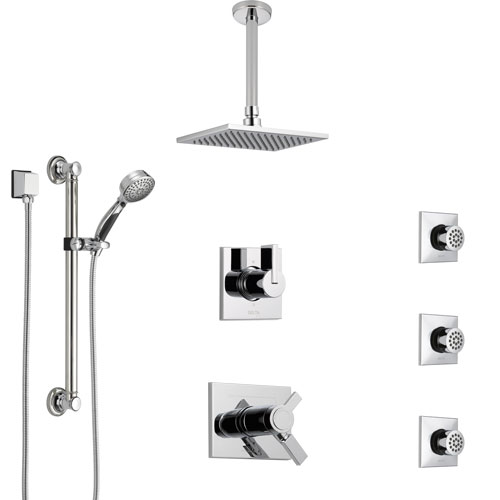 Delta Vero Chrome Shower System with Dual Thermostatic Control, Diverter, Ceiling Mount Showerhead, 3 Body Sprays, and Grab Bar Hand Shower SS17T5321