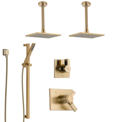 Delta Vero Champagne Bronze Shower System with Dual Thermostatic Control, 6-Setting Diverter, 2 Ceiling Mount Showerheads, and Hand Shower SS17T532CZ1