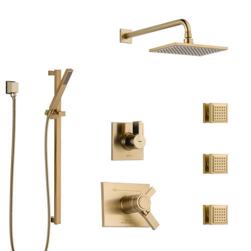Delta Vero Champagne Bronze Shower System with Dual Thermostatic Control, 6-Setting Diverter, Showerhead, 3 Body Sprays, and Hand Shower SS17T532CZ3