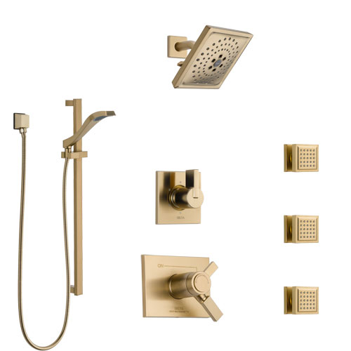 Delta Vero Champagne Bronze Shower System with Dual Thermostatic Control, 6-Setting Diverter, Showerhead, 3 Body Sprays, and Hand Shower SS17T532CZ5