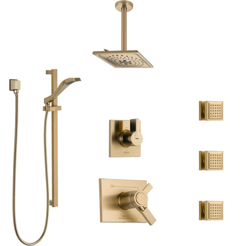Delta Vero Champagne Bronze Shower System with Dual Thermostatic Control, Diverter, Ceiling Showerhead, 3 Body Sprays, and Hand Shower SS17T532CZ6