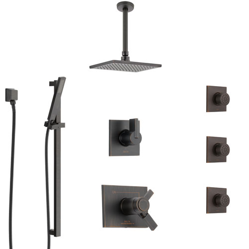 Delta Vero Venetian Bronze Shower System with Dual Thermostatic Control, Diverter, Ceiling Showerhead, 3 Body Sprays, and Hand Shower SS17T532RB6