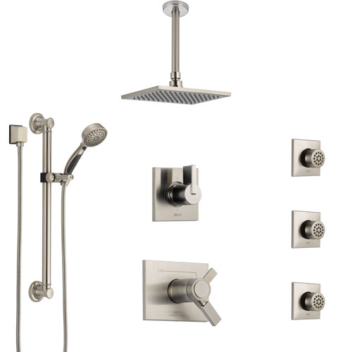 Delta Vero Dual Thermostatic Control Stainless Steel Finish Shower System, Diverter, Ceiling Showerhead, 3 Body Jets, Grab Bar Hand Spray SS17T532SS1