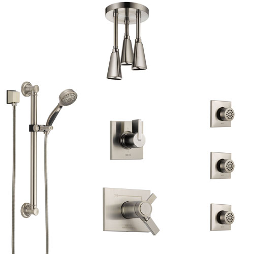 Delta Vero Dual Thermostatic Control Stainless Steel Finish Shower System, Diverter, Ceiling Showerhead, 3 Body Jets, Grab Bar Hand Spray SS17T532SS4
