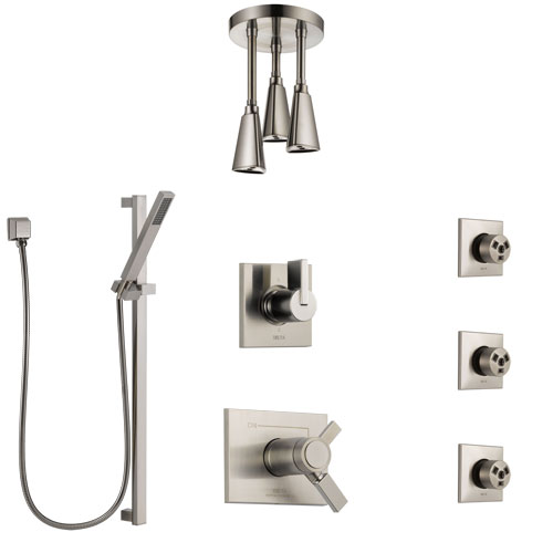 Delta Vero Dual Thermostatic Control Stainless Steel Finish Shower System, Diverter, Ceiling Showerhead, 3 Body Sprays, and Hand Shower SS17T532SS5