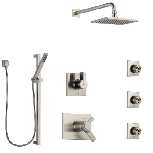Delta Vero Dual Thermostatic Control Stainless Steel Finish Shower System, 6-Setting Diverter, Showerhead, 3 Body Sprays, and Hand Shower SS17T532SS6
