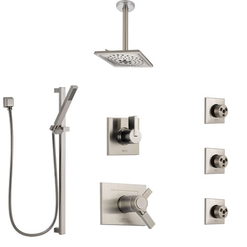 Delta Vero Dual Thermostatic Control Stainless Steel Finish Shower System, Diverter, Ceiling Showerhead, 3 Body Sprays, and Hand Shower SS17T532SS7
