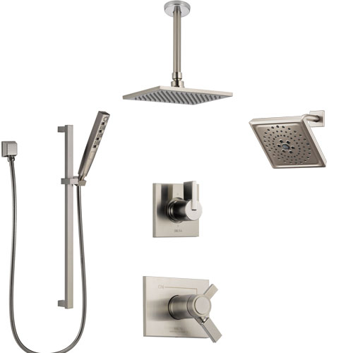 Delta Vero Dual Thermostatic Control Stainless Steel Finish Shower System, Diverter, Showerhead, Ceiling Mount Showerhead, and Hand Shower SS17T532SS8