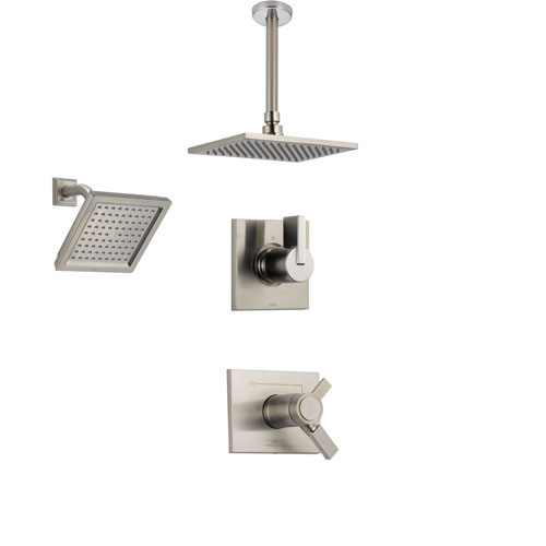 Delta Vero Stainless Steel Shower System with Thermostatic Shower Handle, 3-setting Diverter, Large Square Rain Showerhead, and Modern Wall Mount Showerhead SS17T5383SS