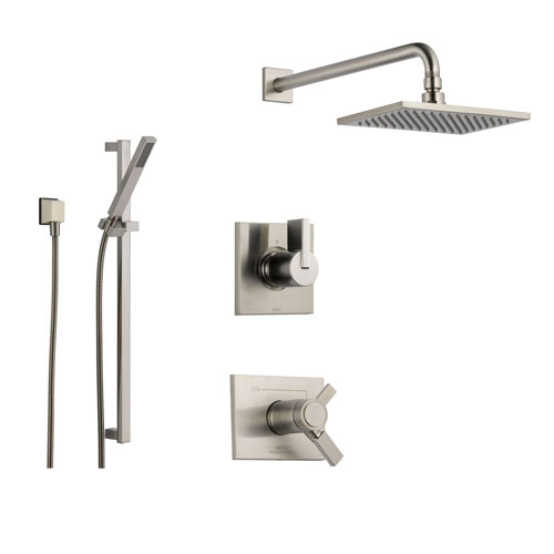 Delta vero stainless steel shower system with thermostatic shower hand for Delta bathroom shower systems