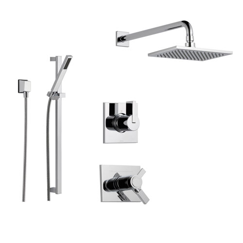 delta vero chrome shower system with shower handle 3setting diverter large square rain showerhead and handheld shower ss17t5384