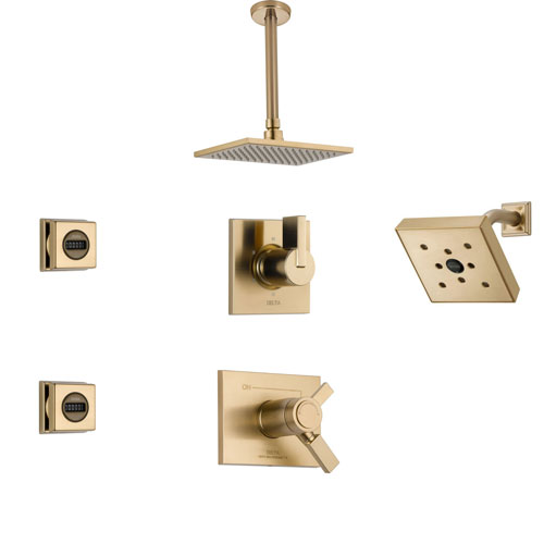 Delta Vero Champagne Bronze Shower System with Thermostatic Shower Handle, 6-setting Diverter, Modern Square Ceiling Mount Showerhead, Wall Mount Showerhead, and 2 Body Sprays SS17T5395CZ