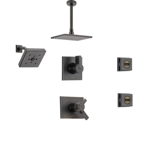 Delta Vero Venetian Bronze Shower System with Thermostatic Shower Handle, 6-setting Diverter, Modern Ceiling Mount Shower Head, Square Wall Mount Shower Head, and 2 Body Sprays SS17T5395RB