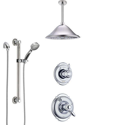 Delta Victorian Chrome Shower System with Dual Thermostatic Control, Diverter, Ceiling Mount Showerhead, and Hand Shower with Grab Bar SS17T5511