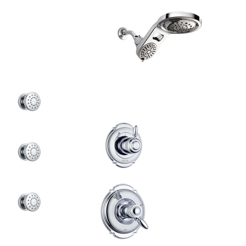 Delta Victorian Chrome Finish Shower System with Dual Thermostatic Control Handle, 3-Setting Diverter, Dual Showerhead, and 3 Body Sprays SS17T5513