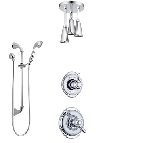 Delta Victorian Chrome Finish Shower System with Dual Thermostatic Control Handle, Diverter, Ceiling Mount Showerhead, and Hand Shower SS17T5515