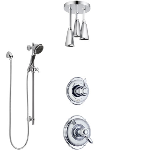 Delta Victorian Chrome Finish Shower System with Dual Thermostatic Control Handle, Diverter, Ceiling Mount Showerhead, and Hand Shower SS17T5517
