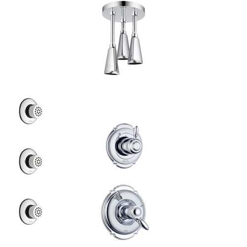 Delta Victorian Chrome Finish Shower System with Dual Thermostatic Control Handle, Diverter, Ceiling Mount Showerhead, and 3 Body Sprays SS17T5518