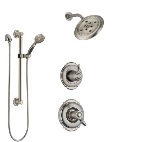 Delta Victorian Dual Thermostatic Control Handle Stainless Steel Finish Shower System, Diverter, Showerhead, and Hand Shower with Grab Bar SS17T551SS6