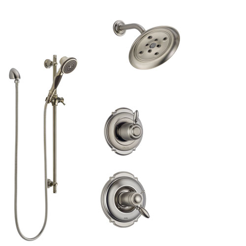 Delta Victorian Dual Thermostatic Control Handle Stainless Steel Finish Shower System, Diverter, Showerhead, and Hand Shower with Slidebar SS17T551SS7
