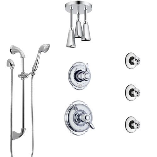 Delta Victorian Chrome Shower System with Dual Thermostatic Control, Diverter, Ceiling Mount Showerhead, 3 Body Sprays, and Hand Shower SS17T5524