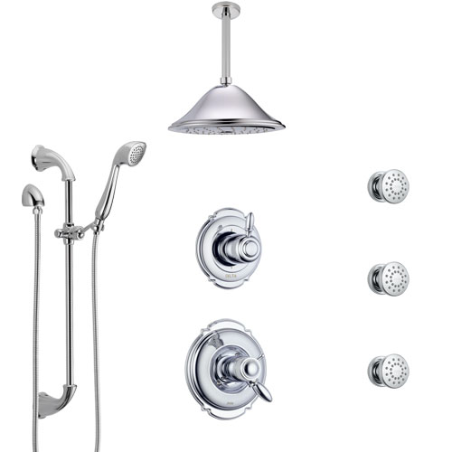 Delta Victorian Chrome Shower System with Dual Thermostatic Control, Diverter, Ceiling Mount Showerhead, 3 Body Sprays, and Hand Shower SS17T5528