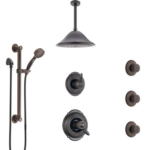 Delta Victorian Venetian Bronze Dual Thermostatic Control Shower System, Diverter, Ceiling Showerhead, 3 Body Sprays, Grab Bar Hand Spray SS17T552RB4