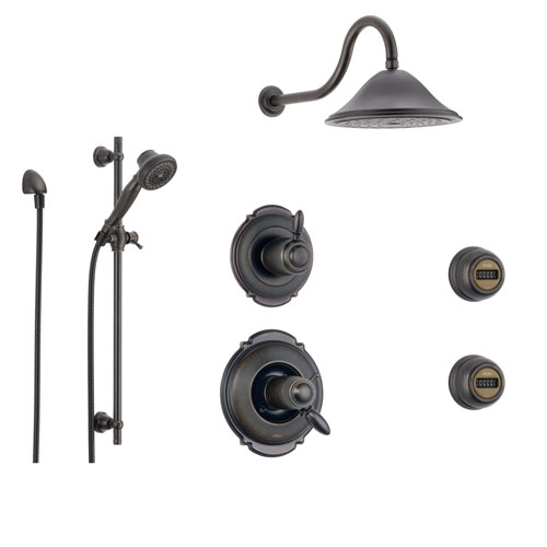Delta Victorian Venetian Bronze Shower System with Thermostatic Shower Handle, 6-setting Diverter, Large Rain Showerhead, Handheld Shower, and 2 Body Sprays SS17T5592RB