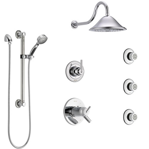 Delta Trinsic Chrome Shower System with Dual Thermostatic Control, Diverter, Showerhead, 3 Body Sprays, and Hand Shower with Grab Bar SS17T5911