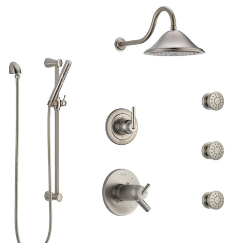 Delta Trinsic Dual Thermostatic Control Stainless Steel Finish Shower System, Diverter, Showerhead, 3 Body Sprays, and Hand Shower SS17T591SS8